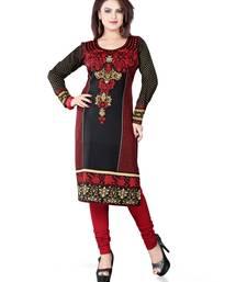 Buy Black and red american crepe printed kurti long-kurti online