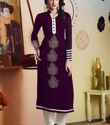 Buy Magenta Pure Georgette embroidered kurti kurtas-and-kurti online