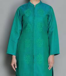 Buy Teal Pure Silk Quilted and Embroidered Jacket heavy-work-kurtis online
