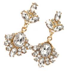 Buy Stone & Resin Alloy Danglers- White&Gold danglers-drop online