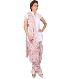 Buy Womens Cottage Light red bandhani printed cotton semi patiala  and  cotton dupatta with beads patialas-pant online