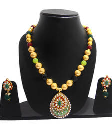 Buy ETHNIC MOTHER OF PEARL NECKLACE WITH  EXCLUSIVE PACHI WORK necklace-set online
