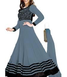 Buy GREY embroidered georgette semi stitched salwar with dupatta party-wear-salwar-kameez online