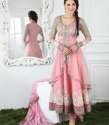 Buy PINK embroidered georgetteandnet semi stitched salwar with dupatta party-wear-salwar-kameez online