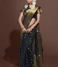 Buy black woven chanderi silk saree with blouse chanderi-saree online