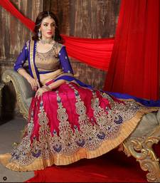 Buy FASHOIN care pink and blue color Embroidered  Fancy Lehenga with Blouse ghagra-choli online