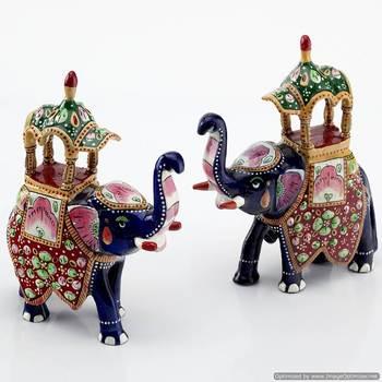Handpainted Enamelled Metal Ambabari Elephant Pair_05