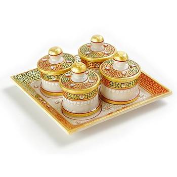 Marvel In Marble -Tray With Containers-041