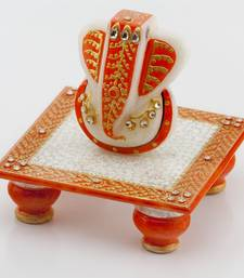 Buy Marvel In Marble - Gold Embossed Lord Ganesh With Chowki_51 other-home-accessory online