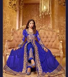 Buy Blue embroidered net semistitched salwar with dupatta party-wear-salwar-kameez online