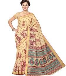 Buy beige printed cotton saree with blouse below-500 online