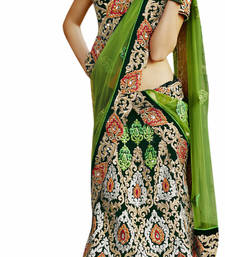 Buy  Designer Velvet Fabric  Green Colored Embroidered Lahenga choli velvet-saree online