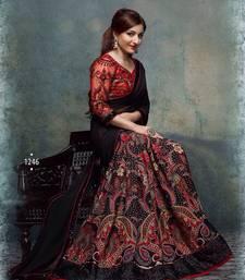 Buy black printed georgette saree with blouse soha-ali-khan-saree online