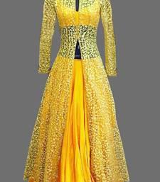 Buy Yellow bhagalpuri  and  net embroidered semi stitiched salwar with dupatta salwar-kameez-below-2000 online