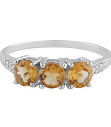 Buy Silver Orange Color Citrine Three Stone Ring Ring online