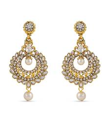 Buy White Kundan Stone Dangle Designer Earrings For Occasion Wear hoop online