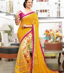Buy yellow printed faux chiffon Fancy Saree printed-saree online