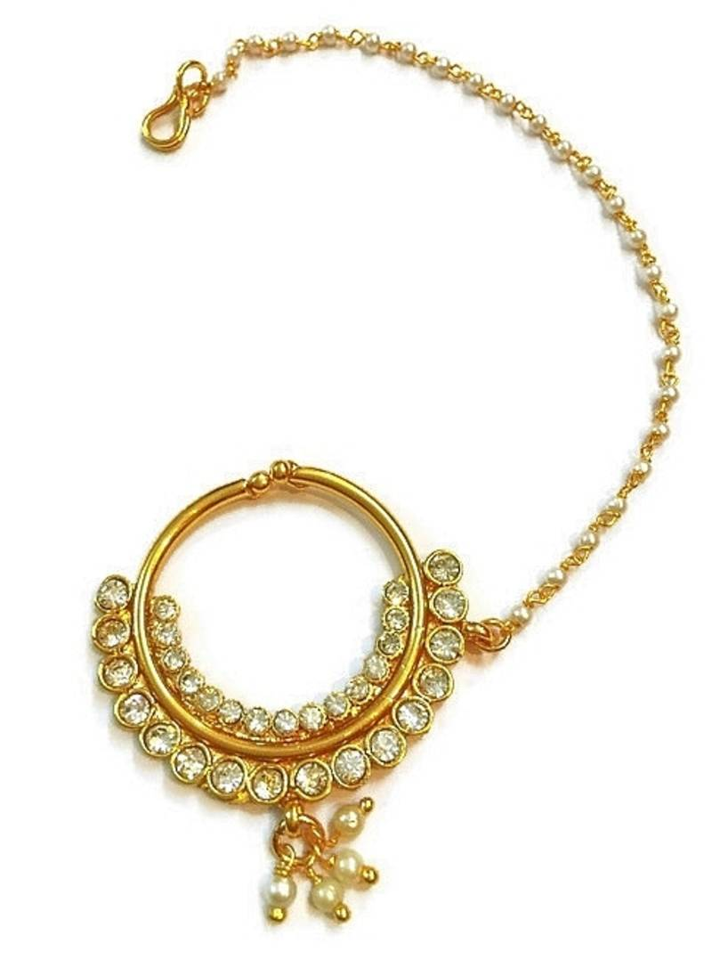 Buy India bridal wear, polki bridal nose ring Online