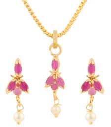 Buy Pink cubic zirconia yellow gold pendants Pendant online