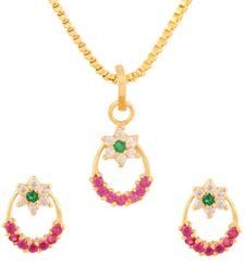 Buy Multicolor cubic zirconia yellow gold pendants jewellery-below-500 online