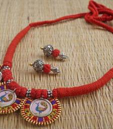 Buy red ajustable hand embroidered choker necklace-set online