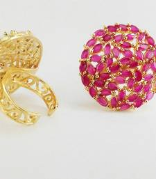 Buy beautiful designer ruby cocktail rings adjustable size Ring online