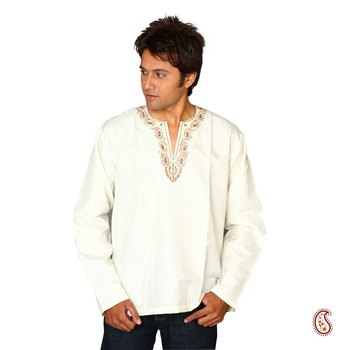 Elegant Cotton Kurta with Embroidered V-neck Pattern