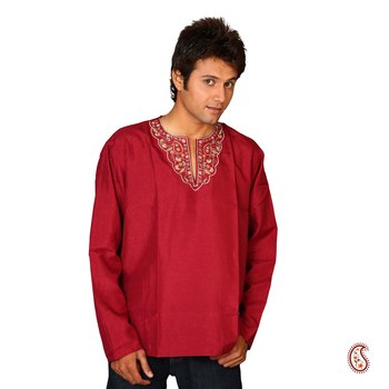 Sexy Dark Red Cotton Kurta with Elegant Pattern