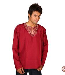 Buy Sexy Dark Red Cotton Kurta with Elegant Pattern men-kurta online