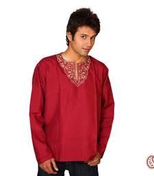 Buy Sexy Dark Red Cotton Kurta with Elegant Pattern men-festive-wear online