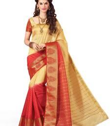 Buy beige and peach woven banarasi silk saree with blouse banarasi-silk-saree online