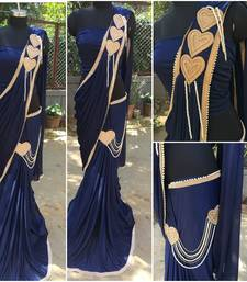 Buy Navy Blue  rasal georgette  ready to wear  saree with complete patch work  bridal-saree online