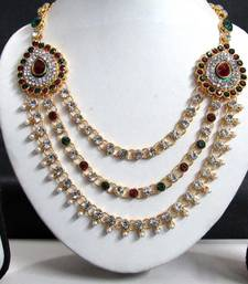 Buy Two Brooch Wedding Maroon Green Stone Necklace Set necklace-set online