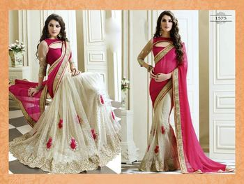 Saree india white net and pink pallu embroidered satin saree with blouse