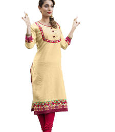 Buy Beige cotton embroidered kurti kurtas-and-kurti online