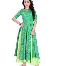 Buy Green casual wear rayon stitched kurti indowestern online