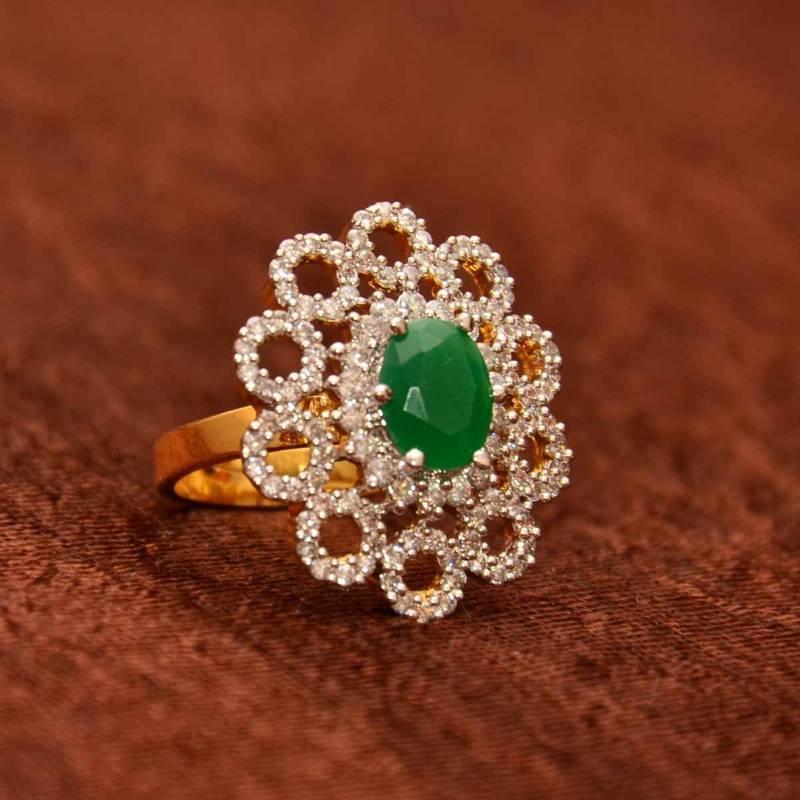 Buy Avni\'s floral design adjustable cz finger ring with emerald Online