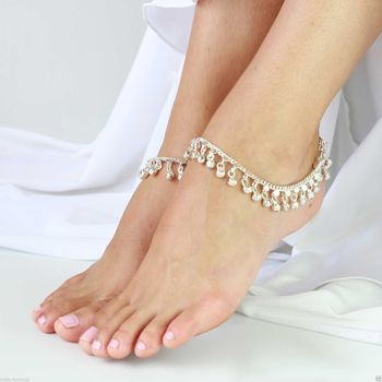 Silver tone Jingle Bells Anklets Payal pair