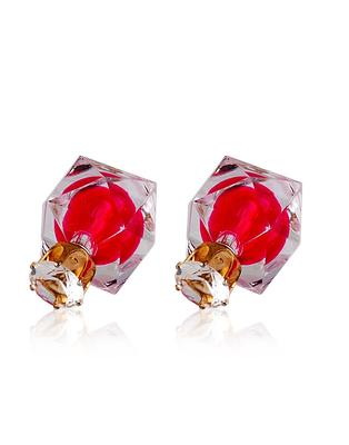 Crystal Rosy Dual Sided Earrings