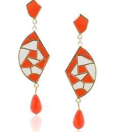 Buy Ivory-Orange Chic Mosaic Dangler danglers-drop online