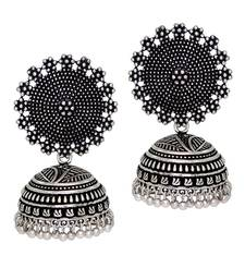 Buy Oxidised Silver Plating handmade Jhumka Earrings jhumka online