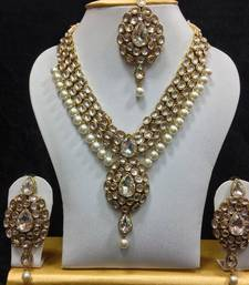 Buy Dazzling Kundan Set in White with Pearls black-friday-deal-sale online