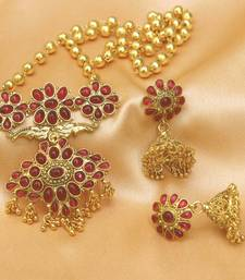 Buy Pink gold plated agate necklace set diwali-jewellery online