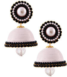 Buy White teracotta and dokra jhumkas terracotta-jewelry online