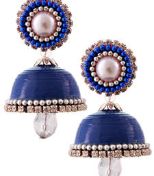 Buy Dark blue teracotta and dokra jhumkas terracotta-jewelry online