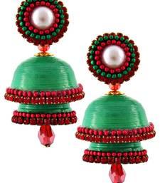 Buy Green teracotta and dokra jhumkas terracotta-jewelry online