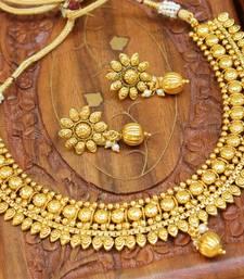 Buy Gorgeous designer gold plated  necklace set diwali-jewellery online