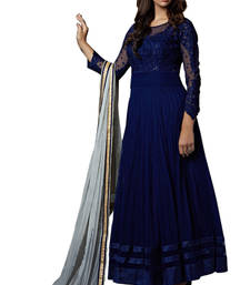 Buy Blue embroidered net semi stitched indian wedding clothes for ladies wedding-salwar-kameez online
