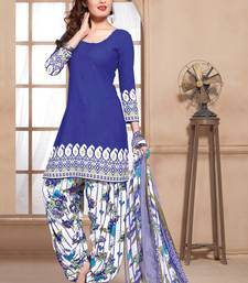Buy Blue printed polyester unstitched salwar with dupatta dress-material online