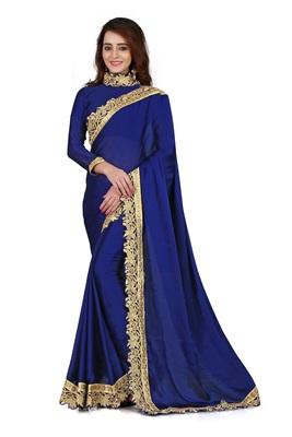 Blue Satin Silk Saree with Blouse Piece (Velvet_Embroidered_Border)
